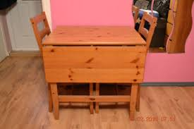 SMALL IKEA VERY SOLID PINE DROP LEAF DINING TABLE AND  KITCHEN - Small pine kitchen table