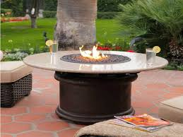 patio ideas gray outdoor propane fire pit tables dining height