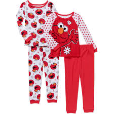 sesame elmo baby toddler cotton tight fit pajamas 4