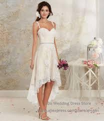 2016 summer high low casual wedding dresses lace boho bridal dress