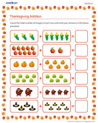 thanksgiving addition free addition worksheet for jumpstart
