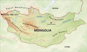 Russia Physical Map Physical Map by Mongolia Physical Map