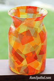 Fall Vase Ideas Diy Mosaic Fall Vase Easy Mod Podge Autumn Craft Tutorial