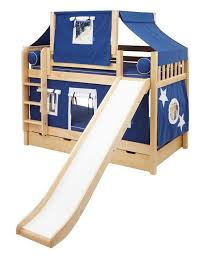 Maxtrix Playhouse Tent Bunk Bed W Slide Bluewhite On Natural - Maxtrix bunk bed