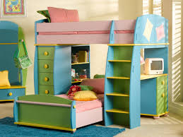 colorful wooden bunk bed with drawers and steps of charming