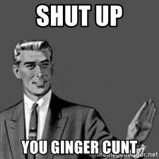 Cunt Meme - shut up you ginger cunt correction guy meme generator
