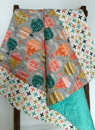 baby quilt gender neutral air balloons gray teal coral