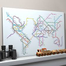 World Map Canvas Subway Tube Metro World Map Art Print Living Rooms Room And