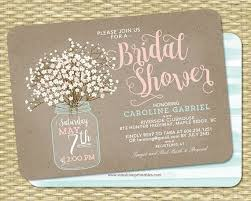 wedding shower invitation rustic bridal shower invitation kraft jar and baby s breath