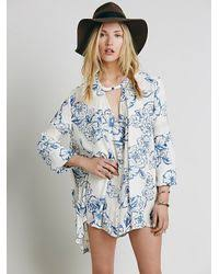 free people womens floral foil print swing tunic in blue lyst