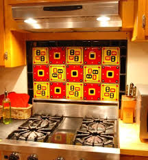 kitchen decorative yellow and red glass tile backsplash live up