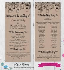 rustic wedding program templates diy rustic wedding program template printable editable