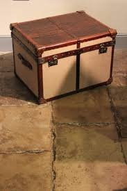 bespoke crocodile and hessian coffee table trunk leather
