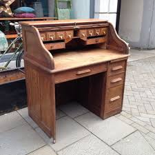 Small Oak Writing Desk by Antique Oak Roll Top Desk The Consortium Vintage Furniture