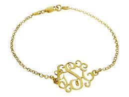 Gold Monogram Bracelet Monogram Bracelet 18 Kt Goldplated Sterling Silverysecream Com