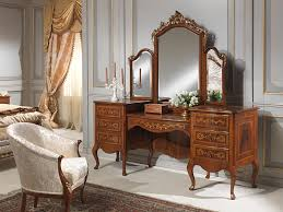 brown wooden dressing table with two side storage and three