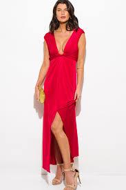 shop red deep v neck knot high slit formal cocktail party evening