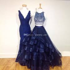 navy blue two piece prom dresses sparkle beading ball gown prom