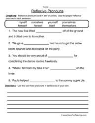 collection of solutions reflexive pronouns worksheets in