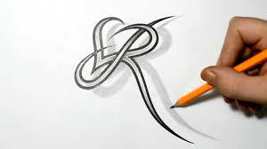 tetu in hand letter r and heart combined tattoo design ideas for initials