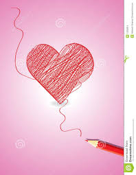 pencil with heart shape sketch stock vector image 13332815