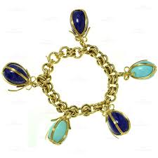gold bracelet charms images Tiffany co schlumberger turquoise lapis lazuli egg charms 18k jpg