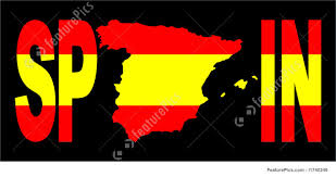 Spainish Flag Spain Text With Map On Flag Stock Illustration I1740249 At Featurepics