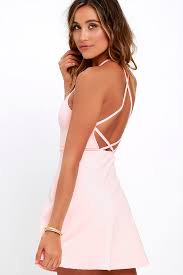 pink dresses light pink dress a line dress fit and flare dress backless