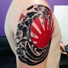 and black japanese sun for guys on arm ink