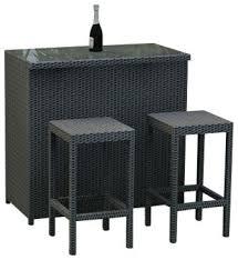 Rattan Bar Table Hampton 3 Piece Modern Outdoor Bar Set Contemporary Outdoor