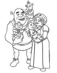shrek and princess fione with their babies coloring page shrek