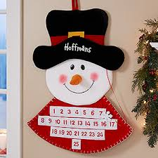 personalized countdown calendar snowman