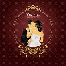 Invitation Card Download Vintage Invitation Card With Kissing Bride And Groom In Ornate
