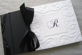 black wedding guest book wedding guest book black and white monogram classic style