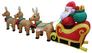 Lighted Santa And Reindeer Outdoor by Amazon Com 12 Foot Long Lighted Christmas Inflatable Santa Claus