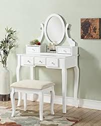 Mirrored Vanity Bench Amazon Com Roundhill Furniture Ashley Wood Make Up Vanity Table