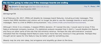 what happened to imdb message boards r i p imdb message boards 2001 2017 movies features