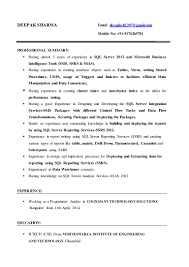 One Year Experience Resume Format For Net Developer Msbi Developer Deepak Sharma Resume