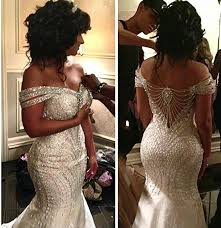 2015 portrait mermaid organza beading backless sequin off shoulder