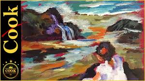 color mixing shortcuts when painting an easy seascape in acrylics