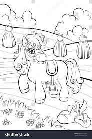 coloring pages little cute pony standing stock vector 393515581