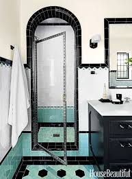 designing two bathrooms with colorful tile beautiful retro