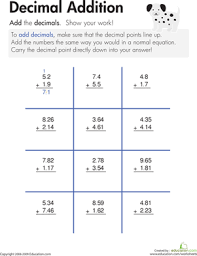 adding decimal numbers worksheet decimal addition worksheet education