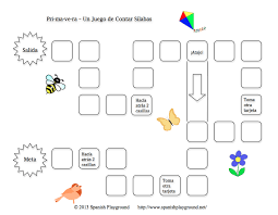 printable spanish game for primavera clap and count syllables