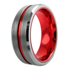 red silver rings images Silver tungsten ring w race car red stripe inner band beveled jpg