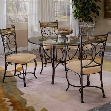 Round Dining Table With Glass Top Hillsdale Pompei 5 Piece Dining Set With Glass Top Black Gold