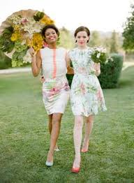 wedding dress garden party who says your to be in a plain colour and gown