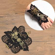 wrist cuff bracelet images Vintage steampunk bracelet gears wrist cuff black costume party jpg