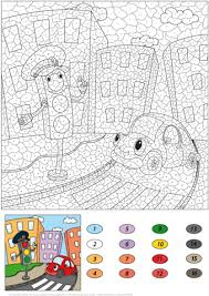 free printable number coloring pages traffic light and funny car color by number free printable