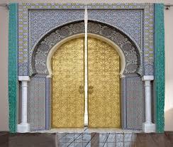antique decor moroccan style door golden doorknob pattern curtain